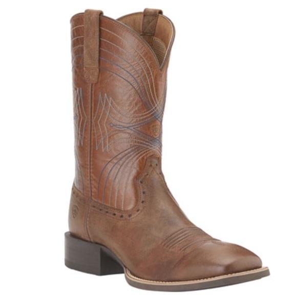 Men's Ariat Sport Wide Square Toe, Size: 10 2E, Sandstorm/Coyote Brown Full Grain Leather